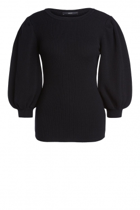 Set | Ribbed sweater with puff sleeves Luf | black