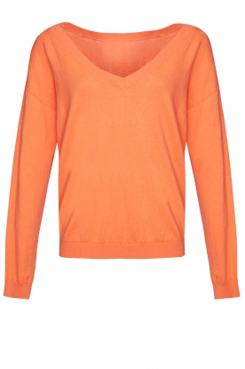 Les Favorites | Basic cotton sweater Day | orange