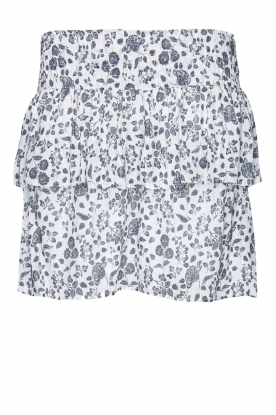 Les Favorites | Skirt with floral print and lurex Isabel | white