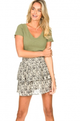 Les Favorites |  Skirt with floral print and lurex Isabell | white