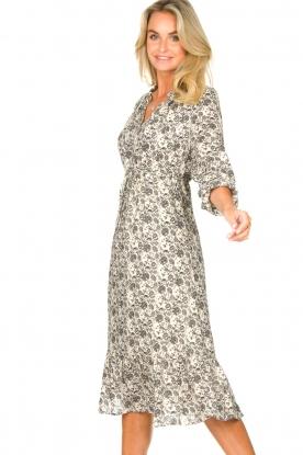 Les Favorites |  Midi floral print dress with lurex Ella | white