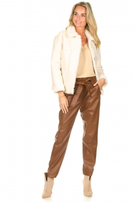 Look Faux leather paperbag pants Lia