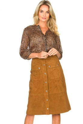 Set |  Suede midi skirt Ingrid | brown