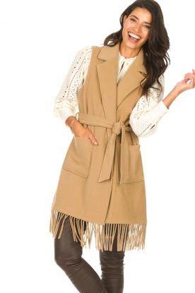 Liu Jo |  Woolen waistcoat with fringes Karla | camel