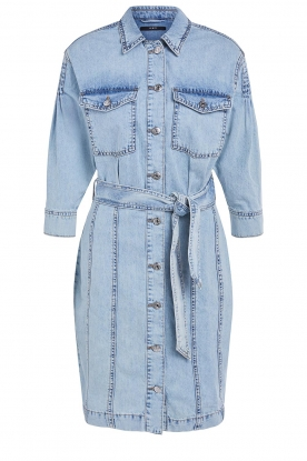 Set | Denim dress with tie belt Rania | blue