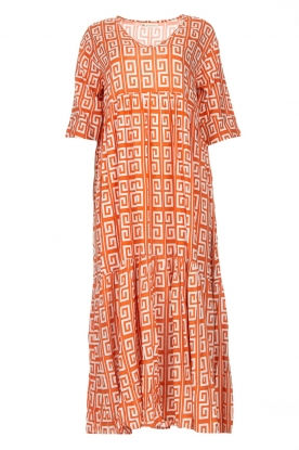 Genesis | Maxi dress with graphic print Luih | red