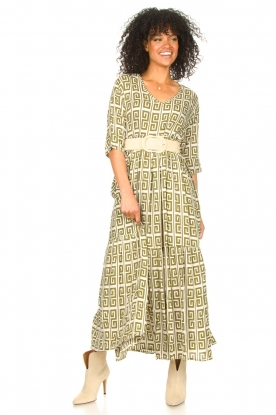 Genesis | Maxi-jurk met grafische print Luih | groen