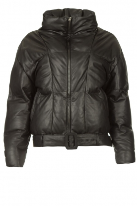Dante 6    Leather puffer jacket Daliz   black