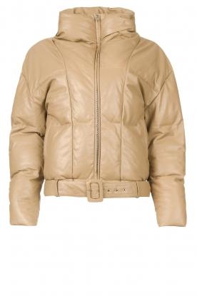 Dante 6    Leather puffer jacket Daliz   beige