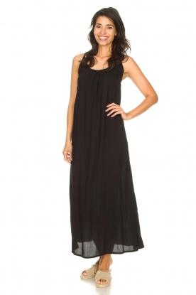 Genesis | Maxi-jurk met crêpe stof Melia | zwart