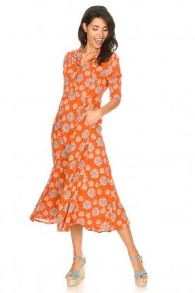 Genesis | Maxi-jurk met bloemenprint Asha | rood