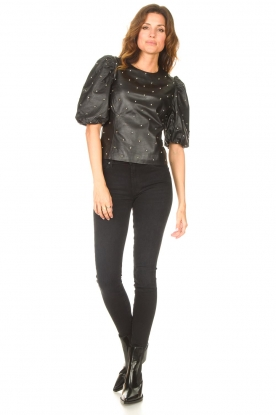 Look Leather top with studs Eclat