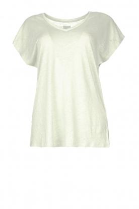 Blaumax |  Linen v-necked T-shirt Fine | light blue