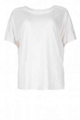 Blaumax | Linen T-shirt with boat neck Over | natural