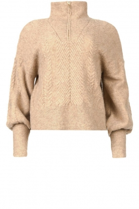 Dante 6 |  Knitted zip-up sweater Yina | beige