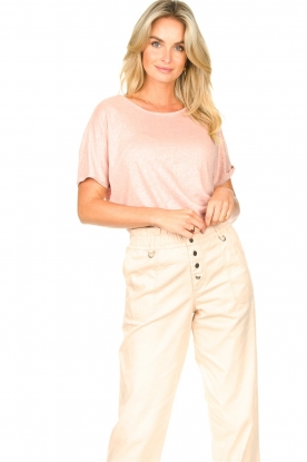 Blaumax |  Linen T-shirt with boat neck Over | pink