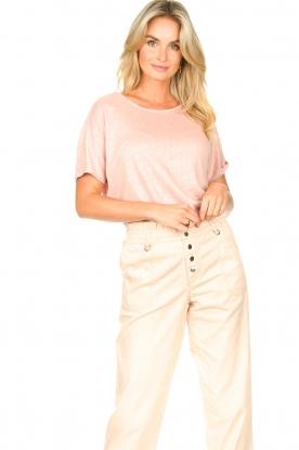 Blaumax | Linnen T-shirt met boothals Over | roze