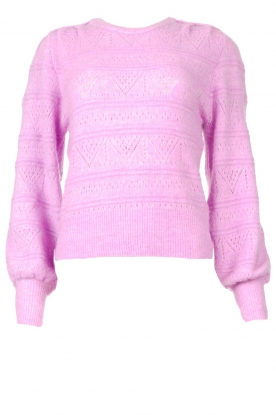 Dante 6 |  Broderie sweater with puff sleeves Valana | Violet