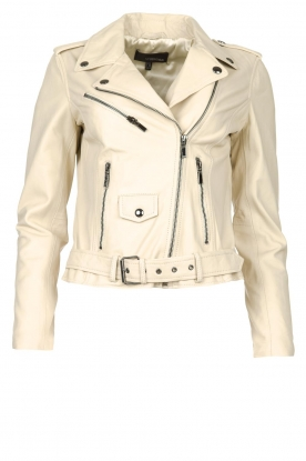 STUDIO AR BY ARMA | Leather biker jacket with belt Kourtney | natural