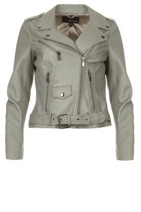 STUDIO AR BY ARMA | Leather biker jacket with belt Kourtney | grey