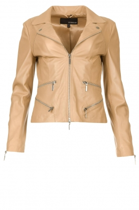 STUDIO AR BY ARMA | Leather jacket with zip details Bebe | beige