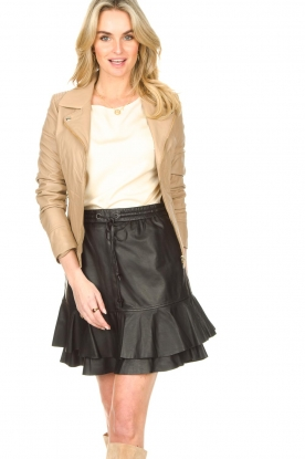 STUDIO AR BY ARMA |  Leather biker jacket with tricot details Kendell | beige