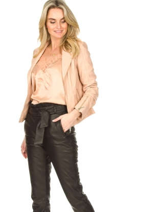 STUDIO AR BY ARMA |  Leather biker jacket with zip details Cherry | nude