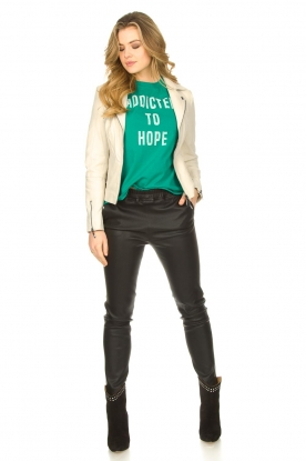 Look Leather biker jacket with zip details Cherry