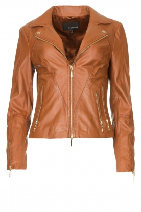 STUDIO AR BY ARMA |  Leather biker jacket with zip details Cherry | camel