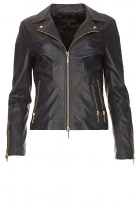 STUDIO AR BY ARMA |  Leather biker jacket with zip details Cherry | blue