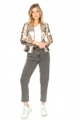 Look Metallic biker jacket Cherry