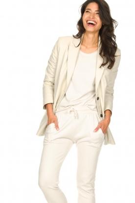 STUDIO AR BY ARMA |  Leather long blazer Luna | natural
