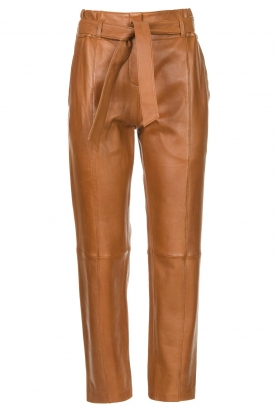 STUDIO AR BY ARMA | Leather paperbag pants Clarie | camel