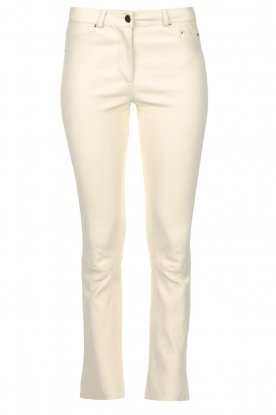 STUDIO AR BY ARMA | Leather stretch cropped pants Eva | natural