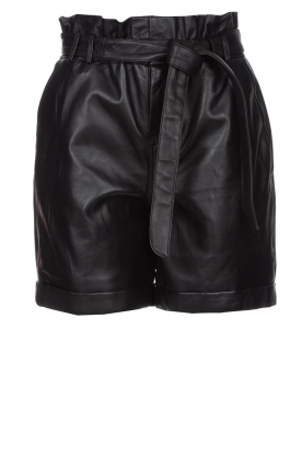 STUDIO AR BY ARMA | Lamb leather paperbag short Rosy | black