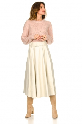 Look Lamb leather midi skirt Romee