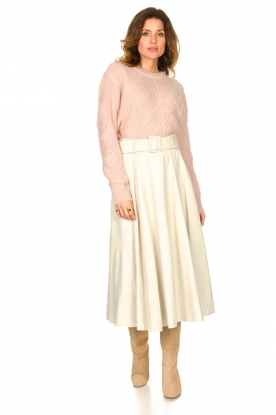 STUDIO AR BY ARMA |  Lamb leather midi skirt Romee | naturel