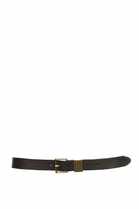 The Kaia |  Leather belt with golden buckle Polly | black