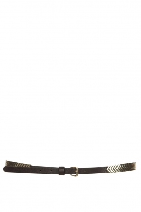 The Kaia | Leather belt with silver details Romy | black