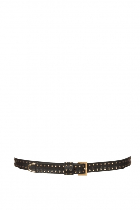 The Kaia |  Leather belt with rose details | zwart