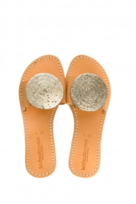 Laidback London | Leather plateau flip flop Remi | silver