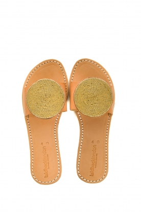 Laidback London |  Leather plateau flip flop Remi | gold