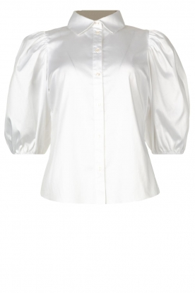 Notes Du Nord | Strech blouse with puff sleeves Kira | white
