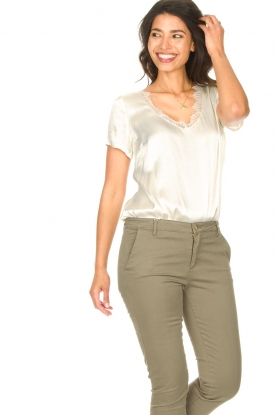 Aaiko |  Top with lace v-neck Veerne | natural
