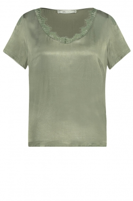Aaiko | Top with lace v-neck Veerne | green