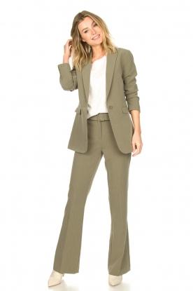 Aaiko | Wijduitlopende pantalon Flarene | groen