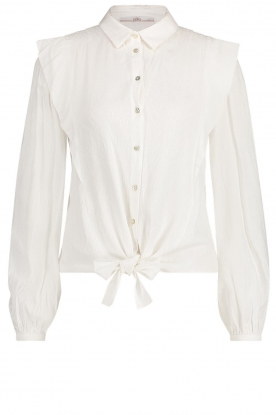 Aaiko | Tie blouse with embroidery details Cadence | white