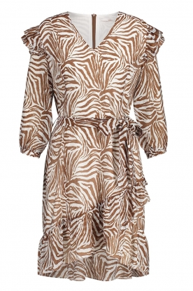Aaiko | Dress with animal print Valenthe | brown