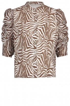Aaiko | Blouse with zebra print Taciana | brown