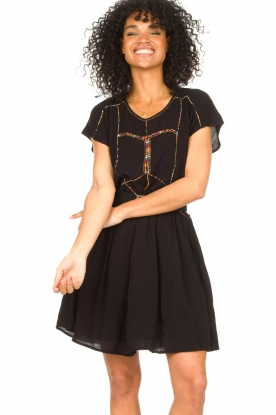 Louizon |  Dress with embroided details Shelter | black